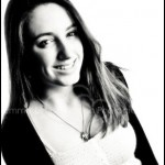 Family Portrait Headshot - Smiling Teenage Girl in black and white at photography studio in Burnham