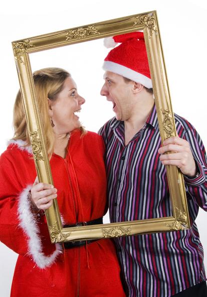 Christmas Photobooth fun photo using a golden frame
